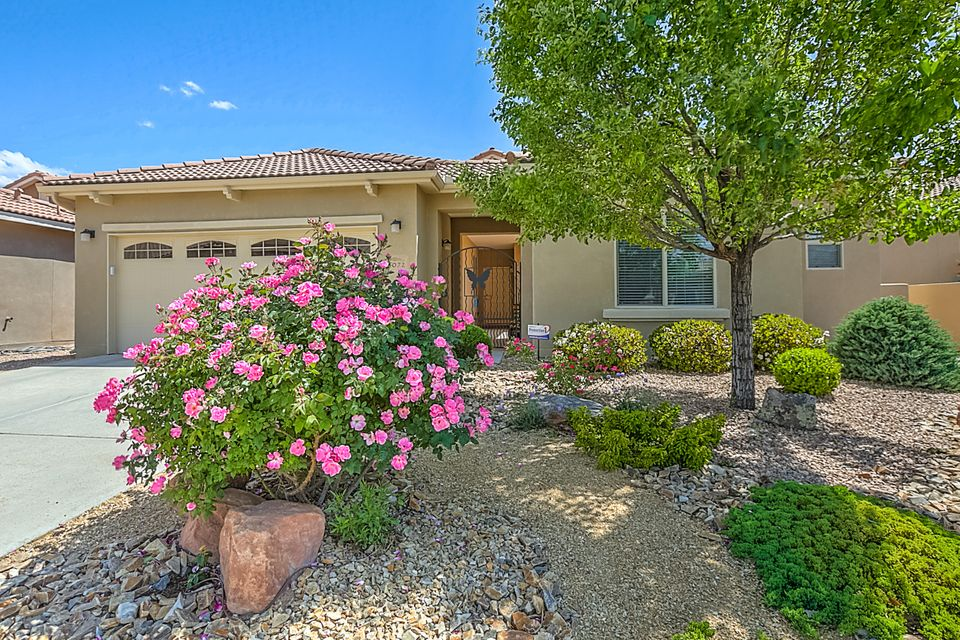 Located in the picturesque Del Webb Alegria Active Adult Community, this Beautiful Coronado Floorplan was built on a Premium View lot, is 1951 sq ft and is Light and Bright and BACKS TO THE BOSQUE providing privacy and endless views year round!! The kitchen is open to the Great Room and includes a large pantry, double ovens, gas cook top, refrigerator, enlarged island, pullout cabinets and Corian counter-tops! Large 2nd BR! The front courtyard  has beautiful custom concrete and a gorgeous water feature. The private Casita with 1/2 bath can be used as a private guest BR, study or art studio.  Great Room and Master Bedroom also have Bosque and mountain views! Both front and backyard were custom landscaped. Large backyard has beautiful turf & extended patio with custom concrete.  See MORE....