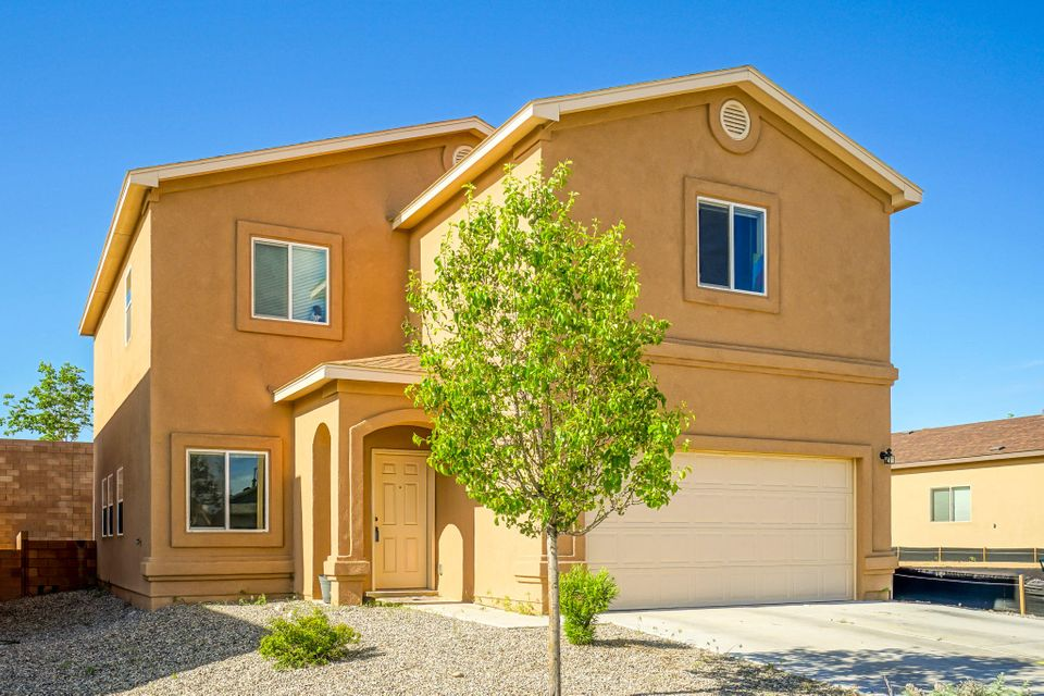 Move in ready Raylee in Rio Rancho! Spacious '3 Pointer' floor-plan boasts 4 beds and 2.5 baths on 2 levels. Enjoy a flexible layout with open concept Living-dining-family area. Eat in kitchen with backyard access. No rear neighbors! Upstairs there is an open loft. Romantic master bedroom with huge walk in closet and its own bathroom. 3 more bedrooms have tons of storage space. Close to Sports Complex, Aquatic Center, Medical care and shopping. Refrigerator, washer, dryer and microwave included! See it today.