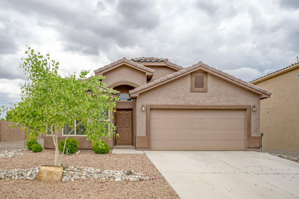 This exceptionally maintained DR Horton home sits on a corner lot.  This Salinas model has new carpet, features all appliances, including washer and dryer and features beautifully landscaped front and backyards.  This home is conveniently located in Encantadas Del Norte, minutes from elementary/middle schools, shopping centers, Rail Runner and I-25.