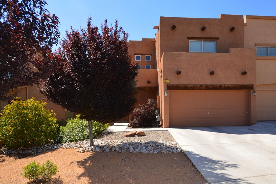 Located in a gated community in Cabezon, this lovely townhome has two living areas including large living room and upstairs loft. Kitchen has dining area, pantry and stainless appliances including gas stove, dishwasher and microwave. Two spacious bedrooms including master bedroom with a large walkin closet and bath with dual sink vanity, garden tub and separate shower. Large backyard with patio.