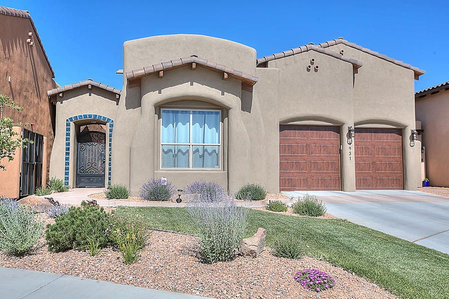 This bright and open floor plan, reflects a sense of warmth & hospitality, with comfortable living spaces. Built in 2012 & nestled in Albuquerque's exclusive Cielo Estates this custom 2773sq ft, 4 bed, 3 bath home is impeccable! Venetian plaster in entry, nichos, & precast natural stone fireplace. Chef's kitchen w/cherry cabinetry w/soft close drawer glides, top of the line SS Wolf appliance package w/pot filler and Sub Zero refrigerator Large granite island w/ kitchen bar & a large pantry, stone back splash in kitchen & on vent hood. Views of the Sandia's from Master bedroom & great room. Great room has wood floors, trey ceiling w/ wood accent! Top of the line-Turn key!