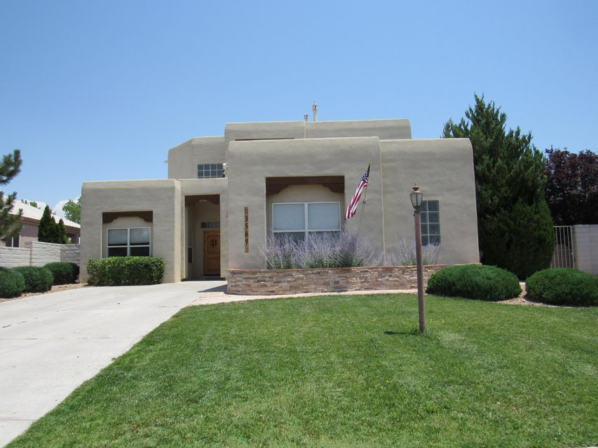 Beautiful Southwestern style custom home with hot tub, pool, & mountain views!  Flowing floorplan makes for an entertainers paradise. So many wonderful features of this charming home including: high cieling in living room, clerestory windows, terra cotta tile floors, & wood burning FP.  Kitchen offers granite counters, all stainless appliances,  & bar top for extra seating.  Recent updates: New roof (2016),  State of the art HVAC system (valued at $12,000. Installed 2015).  New carpet throughout!  Check out the beautiful master bath which has bronze fixtures, travertine shower, soaker tub,  & double sink w/ granite top!  Hall bath features beautiful glass vessel sink.  Best of all, backyard hot tub that waterfalls into  pool w/ auto-cover.  New pool heater installed 2013.