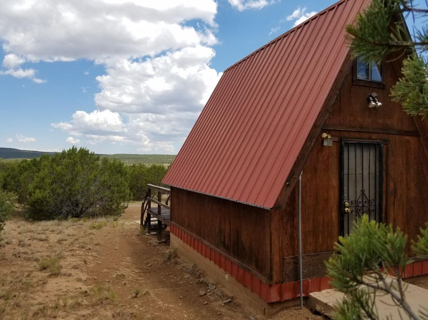 Mountain Cabin on 85 plus acres with a large arroyo running through the Northern part of the property. Views, views, views! Manzano Mountains are beautiful from your front deck. This is a wonderful opportunity to have a summer home get away or move out and take up the tiny home life. Plenty of room for family reunions and parking of RV's or keep this quiet retreat all to yourself. Well, electricity, septic are all on the property and propane hookup is available. Private camping retreat just off the paved highway and plenty of room to roam. This is a great opportunity at a great value!