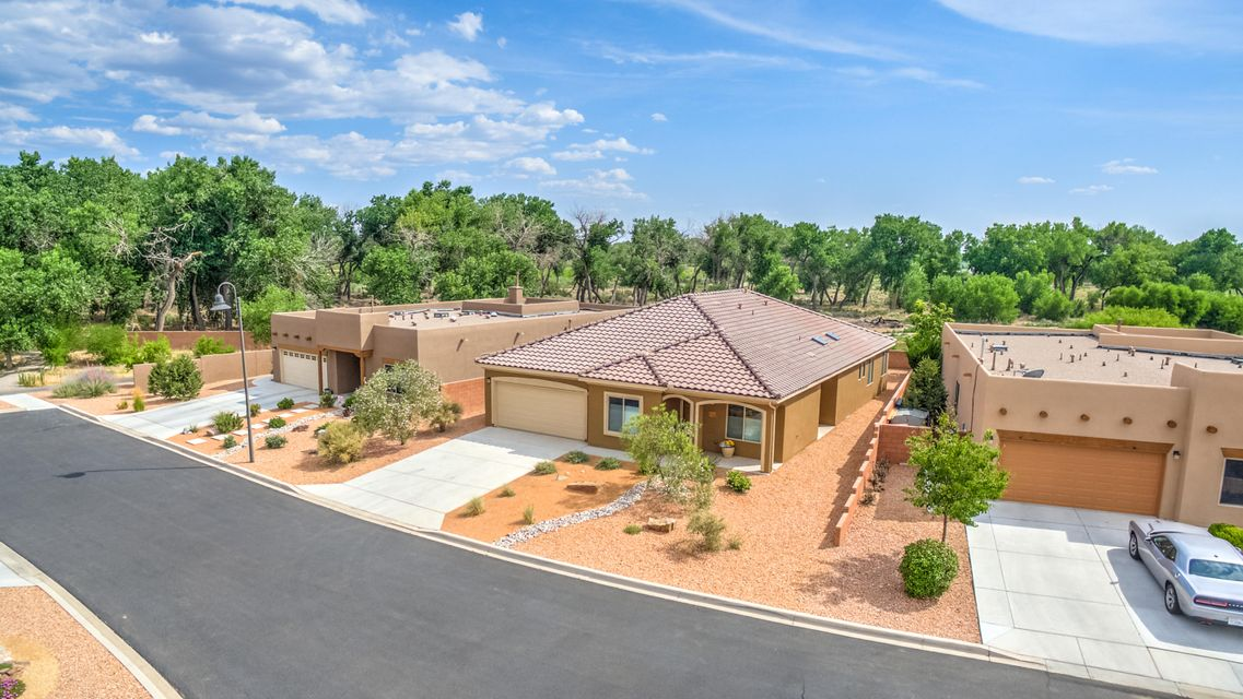 This home is on PREMIUM LOT, which Seller paid $85,000 more to have Bosque Views, and you are only steps away from the walking trails to get on the Rio Grande. See the fall trees changing color right in front of your eyes and watch the hot air balloons over the Rio Grande at the balloon fiesta. This Gated Adult Community of Alegria has a clubhouse, work out room, community swimming pool and activities galore. This home has many quality amenities that other don't have: French doors leading into the office with built in desk area and cabinets galore by California Closets, as does the All the bedroom closets in the house plus hall closet.  Custom Hunter Douglas window treatments and black out blinds in all bedrooms. Recirculating hot water, water softener, and reverse osmosis