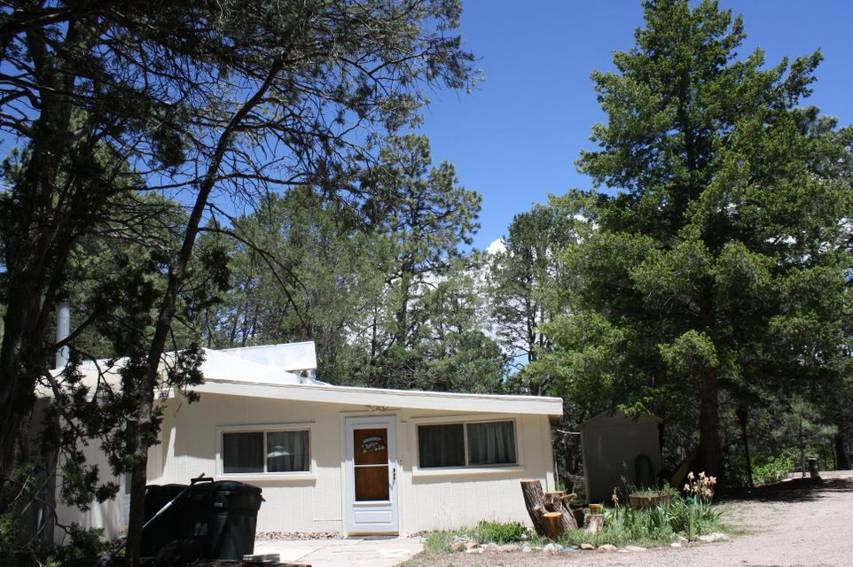 In just 20 minutes from Albuquerque you can be in the serenity of the mountains, surrounded by trees and wildlife. This property has everything needed to enjoy your new home with a seperate 20x16.5 workshop, storage shed and a detached 20x20 garage. Home features two bedrooms and two baths. With two living areas this layout works great for entertaining. You can BBQ on the rear wood deck that overlooks a nice fenced yard where the squirrels play daily. On cold nights you can retire to the front room and sit by the wood burning fireplace. Nice mudroom that is large enough to be used as a office, sunroom or craft room. Live the mountain dream with shopping, dining and multiple activities near by.