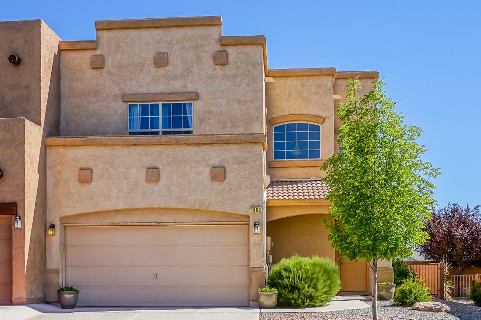 Beautiful, well maintained D.R. Horton floorplan, in a master planned, gated, community!  Two spacious master suites with tons of storage built in.  The high ceilings give this home a spacious open feeling.  Enjoy the low maintenance back patio with views of the Sandia Mountains.  Close to community parks, pool, and trails.