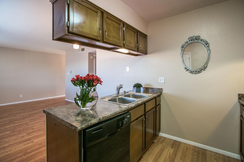 ABSOLUTELY DARLING, UPDATED, SINGLE STORY CONDO IN A NE HEIGHTS GATED COMMUNITY!  OPEN, LIGHT AND BRIGHT UNIT WITH A FANTASTIC BALCONY WITH MOUNTAIN VIEWS.  HOA INCLUDES SO MUCH...TAXES, WATER, SEWER, TRASH, ELEVATOR, SECURITY GATE, POOL, FITNESS CENTER, CLUBHOUSE, BLANKET INSURANCE POLICY, COMMON AREA AND HOA MANAGEMENT FEE.  COVERED PARKING IS AVAILABLE FOR $185/year or $165/year if paid upfront.  SELLER WILL CONSIDER A REAL ESTATE CONTRACT WITH A 5 YEAR BALLOON PAYMENT.