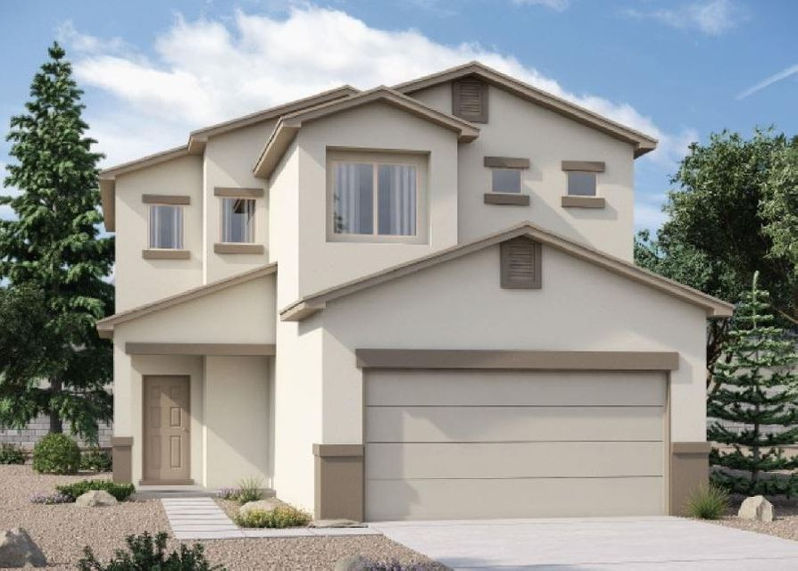 This Brand-New 'Coronado' Express Home by D.R. Horton near the Volcano Vista High School in The Trails, This Spacious, Bright 2-Story with 3 Bedrooms and 2.5 Baths Will Please the Whole Family. Includes a Large Kitchen with Granite Counters and Bar Top, The Master Suite Upstairs Gives You a Huge Tiled Shower, Double Sinks and a Roomy Master Closet, Upgraded Ceramic Tile Flooring in All Wet Areas with Broken-Joint Set adds Elegance, The 2X6 Exterior Construction and Extra Wall and Ceiling Insulation Provide Outstanding Comfort and Energy-Savings, 2 Furnaces and 2 Refrigerated Air Conditioners with Dual Zone Controls Allow Separate Temps Up and Down, The Delightful Front Courtyard Can Be Gated for Extra Privacy, Estimate August Completion, Call Today!