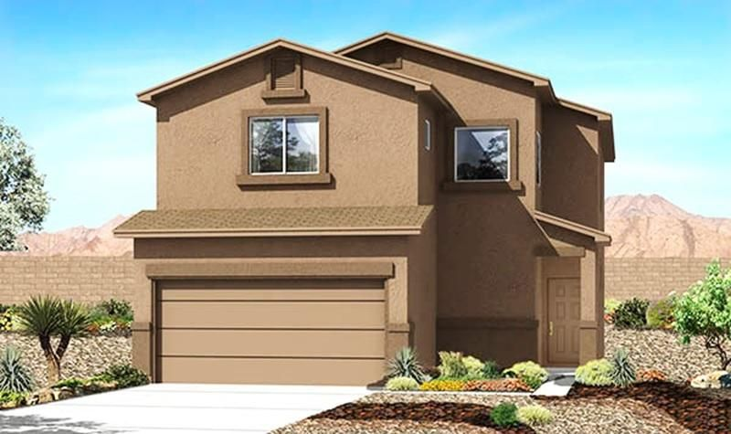 Brand-New Designer 'Reveille' Express Home by D.R. Horton near Volcano Vista High School in The Trails NW, This Spacious, Bright 2-Story with 3 Bedrooms and 2.5 Baths Will Please and Delight the Whole Family, Includes a Large Kitchen with Granite Counters, Bar Top, Stainless Appliances! The Master Suite Upstairs Gives You a Huge Tiled Shower, Double Sinks and a Roomy Master Closet, Upgraded Ceramic Tile Flooring in All Wet Areas with Broken-Joint Set adds Elegance, The 2X6 Exterior Construction and Extra Wall and Ceiling Insulation Provide Outstanding Comfort and Energy-Savings, 2 Furnaces and 2 Refrigerated Air Conditioners with Dual Zone Ctl, The Delightful Front Courtyard Can Be Gated for Privacy, Photo is a Sample Image, Estimated June-July Completion, Must See Today