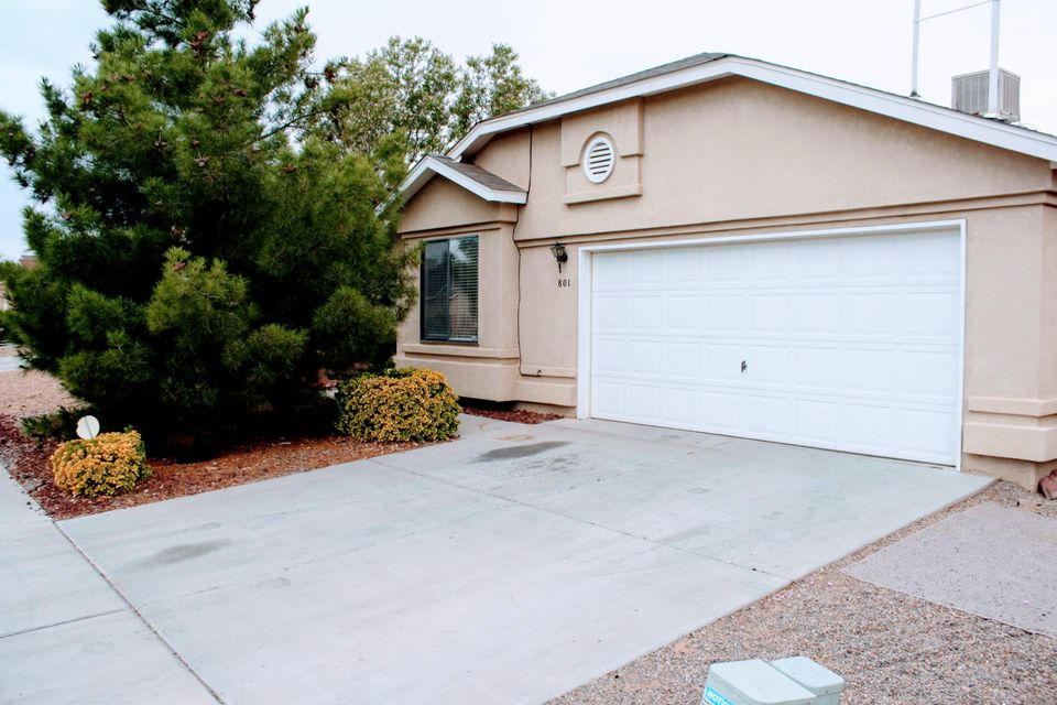 You might be pleasantly surprised! - This home has a great floor plan featuring large living area, office area, 3 bedrooms and 2 bathrooms, with an attached 2-car garage.Ready to move in one level Home.IT has a spacious floor plan, and a big backyard ready for those summer bbqs! Sandia/ Manzano Mountains Can Be Seen From The Large Backyard . Alarm System, Security Front Door, Custom Paint In All Rooms, Recent Lighting In Kitchen And Nook. Custom Closet Shelving In nice size master bedroom.A Perfect family home.