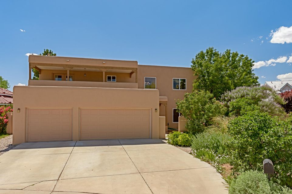 Best price in the Hood!! Great location in quite cul de sac just minutes to the Bosque for walking and riding.  Inviting courtyard leading to this great home. New Ref Air! Updated open kitchen with stainless appliances, and granite counter tops. Baths has new tile and counters.  New carpet, freshly painted, Great room with raised ceiling, unique gas log fireplace.  Opens to covered patio in large back yard with fruit trees and grass! Second living area could be workout, media, home schooling or game room. Downstairs Master suite with separate shower with updated tile and jet tub, custom lighting  and large walk in closet. Three good sized bedrooms upstairs including a private balcony beautiful views of mountains. Tons of storage all over the house. Three car over sized finished garage.