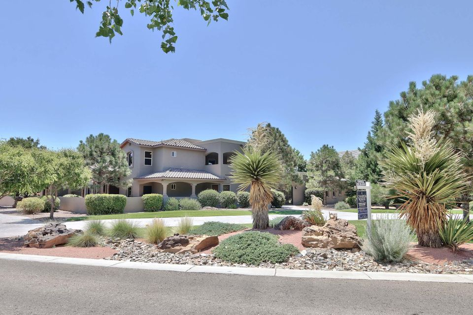 Nestled in the Beautiful Bosque just west of the Rio Grande River in Prestigious Black Farm Estates. This one acre estate will captivate you from the moment you enter. Enjoy entertaining in the enormous chef's kitchen that opens to a fabulous great room and gorgeous outdoor living space. Amenities include, polished granite, wolf double ovens, 48'' wolf cooktop with griddle, sub zero refrigerator, video surveillance, solid 8' custom wood doors, abundant storage oversized laundry, master bath includes his/her walk-in closets and steam shower. Abundant storage throughout. This home is a car enthusiast dream! The 4 bay garage has an attached heated/ cooled 28 x 32 RV/workshop with 220 outlets, closets and 3/4 bath. The separate guest house is perfect for welcoming visitors or in-law quarters!