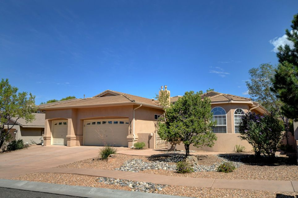 NEW PRICE!Simply Immaculate and Well Maintained Single level home in High Desert.  Open Concept Floor Plan, with Finished Basement (can be 4th Bed or Office) with Windows featuring custom built-in shelves & a 3/4 Bath, plus a 334/sf Sunroom, could be Workout Room or Play Room. Kitchen offers Stainless Steel Appliances, Solid Surface Countertops and a spacious Kitchen Island with  Breakfast Bar.  Greatroom comes equipped with built-in speakers, Fireplace with stone accents, raised ceilings and ceiling fan.Stunning private backyard with Brick Patio and Fireplace for entertaining.  Walking Distance to High Desert Park featuring Tennis Courts, Basketball Courts and Playground.Call today to schedule your appointment!!
