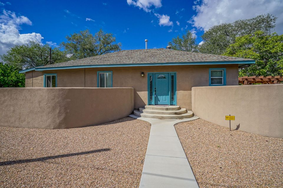 Welcome to this fabulous, updated home close to downtown!  Owner had this home on Airbnb, so it is still fully furnished. Home is being sold without the furnishings, but they are available for sale from the owner. We have 9 ft ceilings, decorator 2 tone paint, wood & tile flooring, carpet in bedrooms. Kitchen & bathrooms have been remodeled, Master bedroom has a walk in closet & full bath, 2nd bedroom has a 3/4 bath, 3rd bedroom has a separate entrance into the home. Kitchen has granite tile counter tops, gas stove, dishwasher & refrigerator stays. Refrigerated air, alarm system. Huge backyard with a concrete patio area with a pergola, fire pit, & swing. Backyard access with a sliding gate, wall and wood fence, concrete pad and a low courtyard wall by the side entrance.