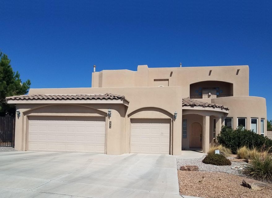 From the time you approach the entry portal to when you step out onto the upper balcony you realize you've found a true gem. Contemporary Pueblo style custom-built home, original plans available. Vigas, beams and nichos abound for that traditional Southwest look and feel. A spacious portal on the north side provides outdoor comfort even in mid Summer. Ground floor master suite. Separate climate control systems for the lower and upper floor levels. Mountain views from the balcony and upstairs additional living area. Parking for that full size RV too. Price subject to bank approval.