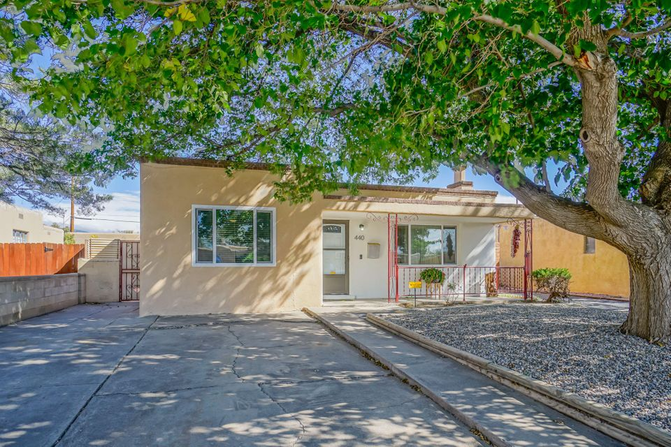 Hello and Welcome to this Amazing updated charmer!  Great location just North of I40 and sits between Nob Hill and Uptown! Close to UNM! Nearby schools, groceries &easy access to freeway.  Recently updated to include Kitchen & appliances, both full bathrooms, Master suite, Windows, Doors,Built in shelves. Home offers wood burning fireplace .Great for entertaining family or friends . Nice hardwood flooring and NO Carpet! Sliding door to open side patio along with separate entrance/exit door from bedroom to backyard lg covered patio overlooking private backyard & gunite pool. Detached garage with workshop area! You'll enjoy this low maintenance & comfortable area along with convenience to anywhere in Albuquerque. This is a good one! schedule your personal showing, you'll be glad you di