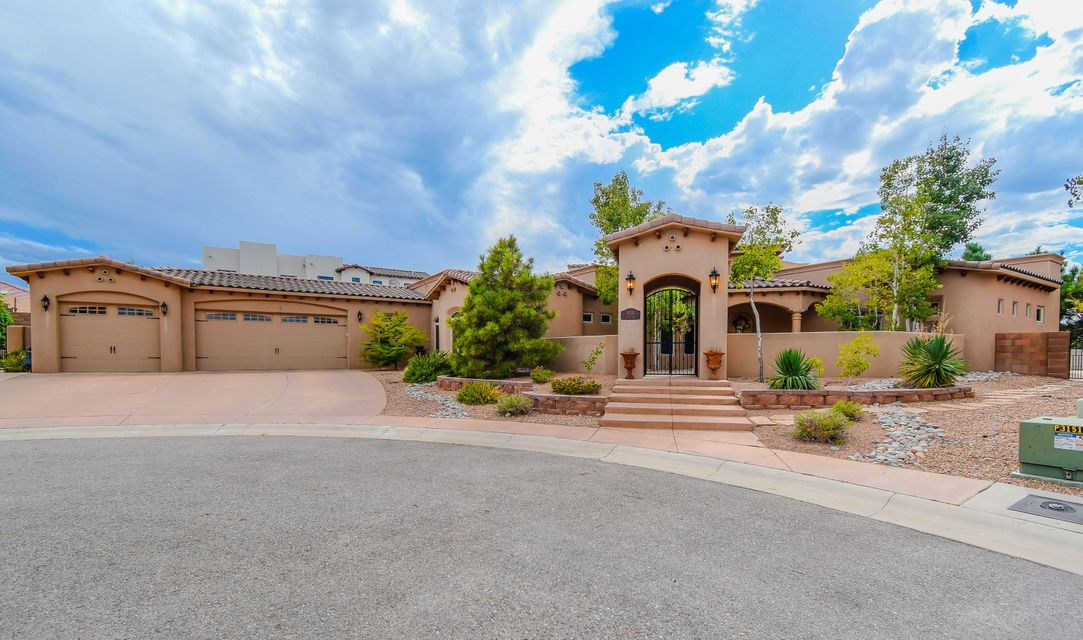 Stunning Ron Montoya custom single story home located in the gated Baron's Run community on a large .40 acre lot. Home features 4,100sf w/ 5 bedrooms, 4.5 bathrooms, a 3 car garage & a private pool! Grand living area surrounded w/ Roman columns, raised wood beamed ceilings, a custom gas fireplace w/ a natural stone surround & wood flooring. Kitchen w/ high-end cabinetry, granite countertops, commercial grade range, range hood, center prep island & high bar w/ seating. Luxurious master w/ outdoor access, a fireplace & spa-like bath. Bath w/ dual sinks, large jetted tub & wrap around shower! Handicapped accessible in-laws quarters. Outside find something for everyone w/ a heated pool, covered patio w/ kitchen, tree house w/ AC, heat & cable. Central vacuum, 16 camera security system & more.
