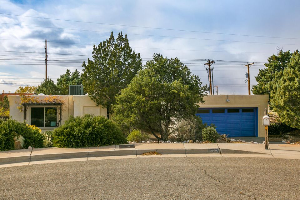 Beautiful single level Glenwood Hills home, situated in a cul-de-sac with stunning views of the Sandia Mountains. Enter the home in to the light and bright living room with a commanding fireplace with stone surround and built-in shelving. Nice sized formal dining room for family meals.  The Kitchen is a Chef's dream! Featuring ample granite counter space, tons of maple cabinet space for storage and stainless steel appliances. Spacious Master Bedroom with a fan, large walk-in closet, and a 3/4 bath. Private backyard with both covered and open patio space. Great location near High Point Sports and Welness, the dog park, The Open Space Preserve & shopping centers.