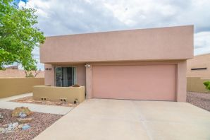 Beautifully updated patio home in the gated community of Sara's Meadow!  This one story, 2BR, 2BA, 2CG, 1281SF home sits on a private elevated corner lot in a cul-de-sac with city and some mountain views and is near walking trails.  The kitchen and baths were just updated a year and a half ago complete with all new appliances including  washer and dryer, also new epoxy flooring in garage, new Water Heater 3/2018, new paint throughout. Carpet 2017. REF AIR. New Patio Radar Awning ($4500) installed recently. Fresh landscape front and backyard! All outdoor pottery stays along with all Patio Furniture!  Hurry, this one wont last!!.