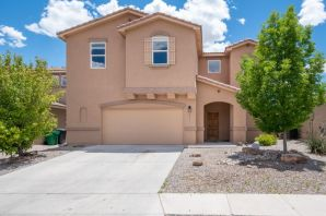 Bright & spacious 5 bedroom, 3 bath home in Cabezon! Features include: inviting foyer, chef's kitchen with breakfast nook & bar, 42'' uppers, tile back splash, SS appliances, solid surface counters, large living room w/ gas log fireplace, main floor bedroom & 3/4 bath.   Upper level boasts large 2nd living space loft, master bedroom complete with double sinks, garden tub, separate shower & enormous walk in closet and 3 additional bedrooms, walk in closets & full bath.  Backyard features both covered patio & open patio, views of the mountains & storage shed.  Oversized garage with extra storage & shelving.  New carpet & fresh paint in main living areas.  Don't miss this move in ready property!