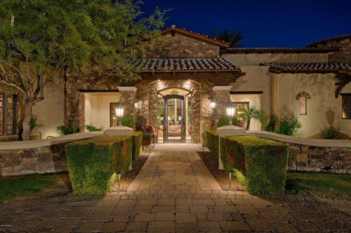 Evening front entry to welcome guests
