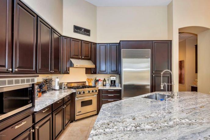 Viking Stove, Sub Zero Fridge, Stainless appliances. Very open kitchen!