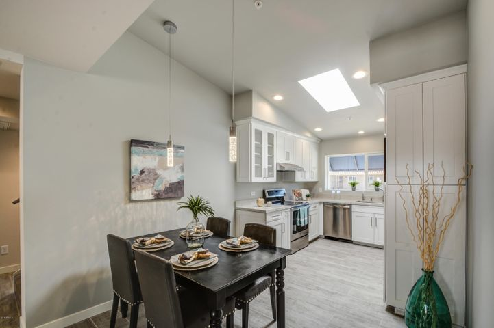 Kitchen Skylight and Vaulted Ceiling Bring all the Light In.