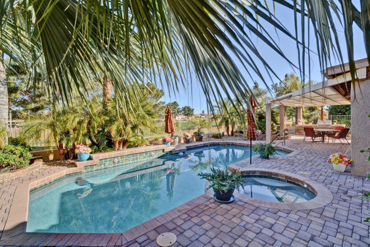 Backyard is a true entertainers dream with pool, spa and built in bbq