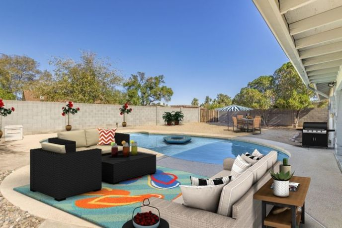 Virtual staging of back yard - so much potential for entertaining and relaxing poolside
