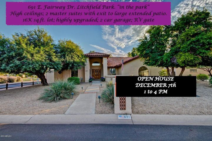 "691 E. Fairway Dr. ""in the Park"" Litchfield Park. OPEN HOUSE Saturday 12-7-19; 1 to 4 PM"