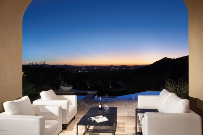 Great room patio with city light views