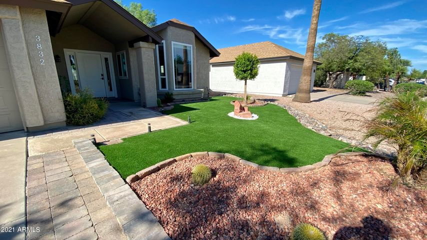 New landscaping w/turf.
