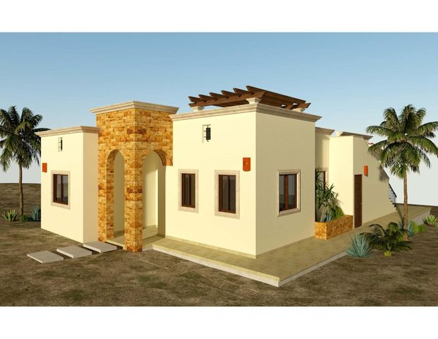 Casa Coyote is one of 6 models that can be built in the new, master-planned community of Villas del Centenario. This 2BR/2BA home offers 130m2/1,400ft2 of interior living area and 30m2/323ft2 of covered patio area. The soaring stone front entry welcomes visitors into an open living/kitchen/dining area featuring 10' ceilings and sliding glass doors that open onto the solid covered patio. High-end finishes such as custom-built hardwood cabinetry, oversized tile, granite countertops and stainless appliances are included. The master suite features dual vanities in the bath, marble tiled shower and walk-in closets, with doors that also open onto the patio. Other features include a walk-in laundry room, and A/C units and ceiling fans in every room. Villas del Centenario is a private, gated community of homes located in the hills of El Centenario overlooking the Sea of Cortez with stunning ocean views. Construction is scheduled to begin in summer 2021. Now taking lot reservations with 50% deposit on lot premiums ranging from $39,900 - $79,900.  The price listed is the base price of the home plus a $39,900 lot premium. Other lots may increase the base price of the home, and some lots may require additional cost for retaining walls. The price does not include other options or upgrades.  The first homes to be built are expected to break ground in summer 2021 (Phase I and II only), with completion averaging 9 months later. Please consult the listing agency for the full lot price list.
