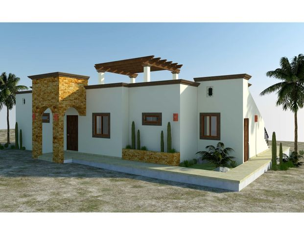 Casa Tesoro is one of 6 models to be built in the new, master-planned community of Villas del Centenario, Casa Tesoro is a 2BR/2BA home with 130m2/1,400ft2 of interior living area and a large 60m2/650ft2 wrap-around terrace. The soaring stone front entry welcomes visitors into an open living/kitchen/dining area featuring 10' ceilings and sliding glass doors that open onto the covered terrace. Custom-built hardwood cabinetry, oversized tile, granite countertops and stainless appliances are all included. The master suite features dual vanities in the bath, marble tiled shower and walk-in closets, with doors that open onto the patio. Other features include a laundry room and A/C units and ceiling fans in every room. Optional upgrades include a pool, spa, garage or garage/casita. Villas del Centenario is a private, gated community of homes located in the hills of El Centenario overlooking the Sea of Cortez with stunning ocean views. Construction is scheduled to begin in summer 2021. Now taking lot reservations with 50% deposit on lot premiums ranging from $39,900 - $79,900.  The price listed is the base price of the home plus a $39,900 lot premium. Other lots may increase the base price of the home, and some lots may require additional cost for retaining walls. The price does not include other options or upgrades.  The first homes to be built are expected to break ground in summer 2021 (Phase I and II only), with completion averaging 9 months later. Please consult the listing agency for the full lot price list.