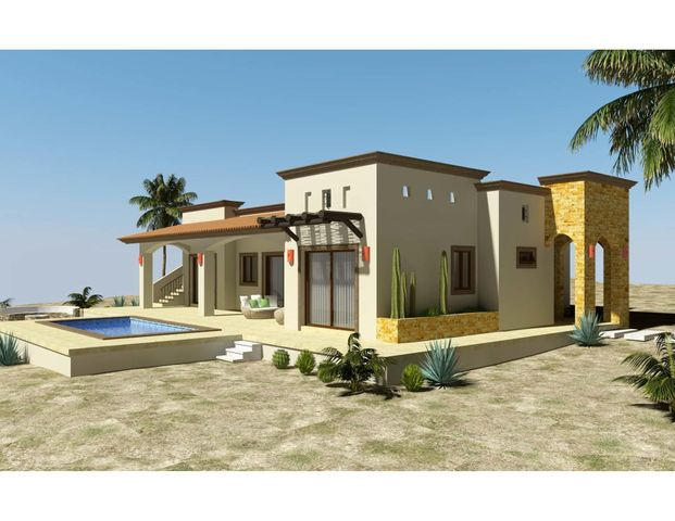 Casa Balandra is one of 6 models to be built in the new, master-planned community of Villas del Centenario, Casa Balandra is a 2BR/2BA home with 160m2/1,722ft2 of interior living space opening onto a large 60m2/650ft2 covered terrace with tiled roof. The soaring stone front entry welcomes visitors into an open living/kitchen/dining area featuring 10' ceilings and sliding glass doors that open onto the terrace. High-end finishes such as custom-built hardwood cabinetry, oversized tile, granite countertops and stainless appliances are included. The 2 master suites feature dual vanities in the bath, marble tiled shower and walk-in closets. Other features include a separate laundry room, as well as A/C units and ceiling fans in each room. Optional upgrades include pool or garage/casita options. Villas del Centenario is a private, gated community of homes located in the hills of El Centenario overlooking the Sea of Cortez with stunning ocean views. Construction is scheduled to begin in summer 2021. Now taking lot reservations with 50% deposit on lot premiums ranging from $39,900 - $79,900.  The price listed is the base price of the home plus a $39,900 lot premium. Other lots may increase the base price of the home, and some lots may require additional cost for retaining walls. The price does not include other options or upgrades.  The first homes to be built are expected to break ground in summer 2021 (Phase I and II only), with completion averaging 9 months later. Please consult the listing agency for the full lot price list.