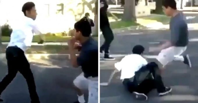 Teen Destroys Rival With Amazing Moves in Nasty School Fight
