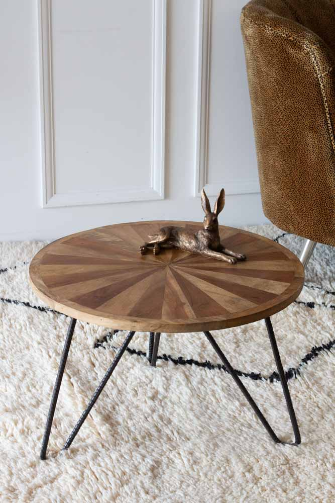 round wooden hairpin leg coffee table