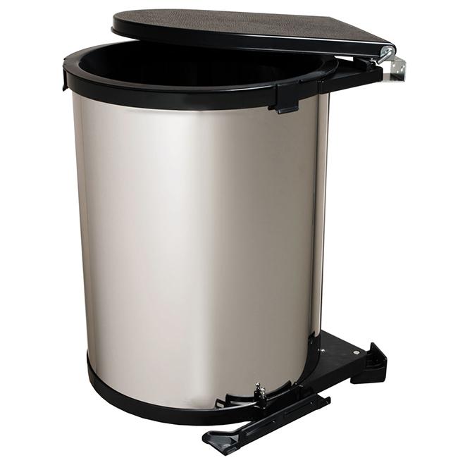 poubelle pivotante real solutions 30 litres chrome et noir