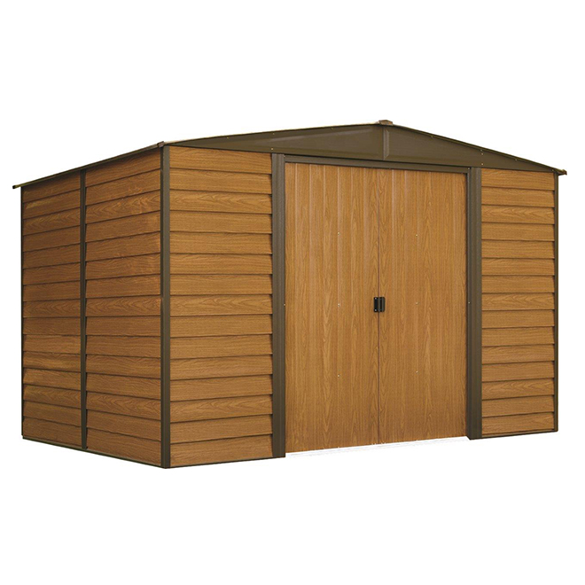remise de jardin en acier woodbridge 10 x 8 simili bois