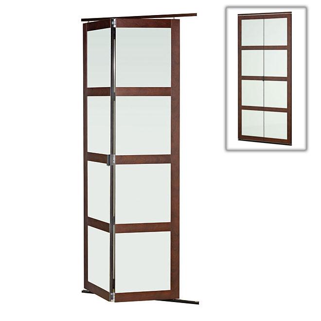 porte pliante en verre givre fusion plus de colonial elegance 36 po x 80 1 2 po chocolat 03680pl417 rona