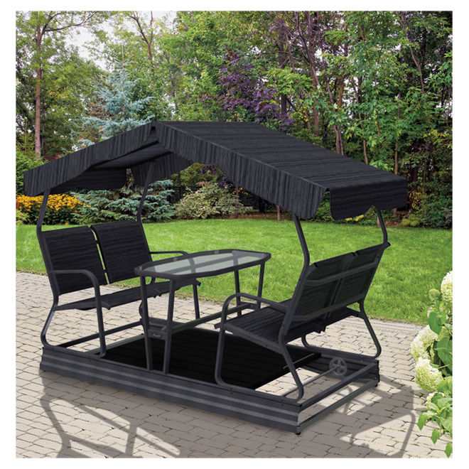 balancoire veranda jardin 4 places sur roues table de verre