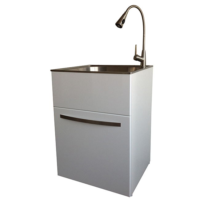 stainless steel laundry sink with cabinet 9 5 white