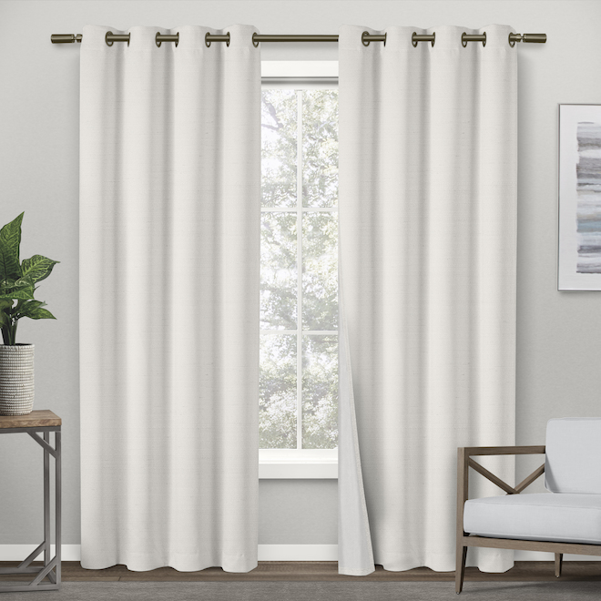 raw silk thermal off white grommet blackout single curtain panel 54 in x 96 in