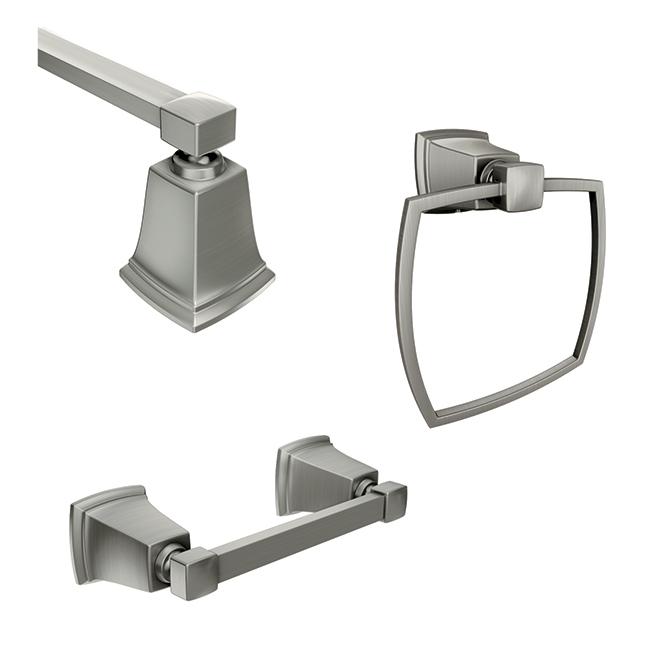 bathroom accessory 3 piece set boardwalk brushed nickel