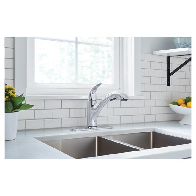 moen medina chrome one handle high arc pullout kitchen faucet 87039