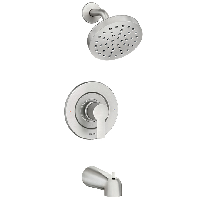 rinza tm 1 handle tub and shower faucet brushed nickel