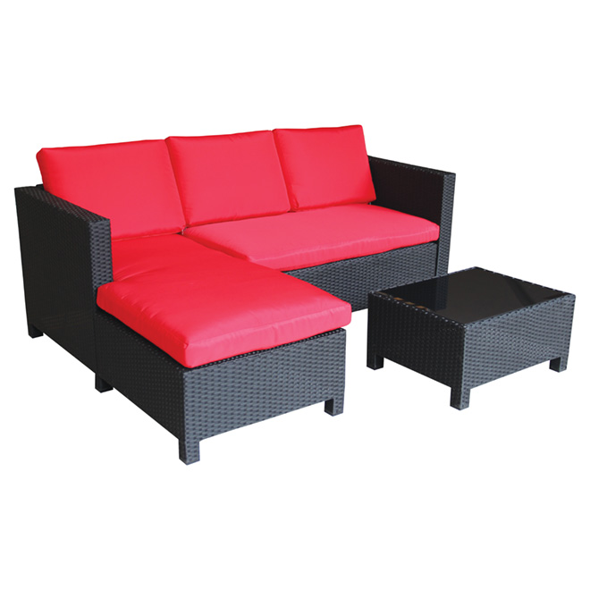 UBERHAUS Patio Sectional Sofa Set RedBlack 3 Pieces