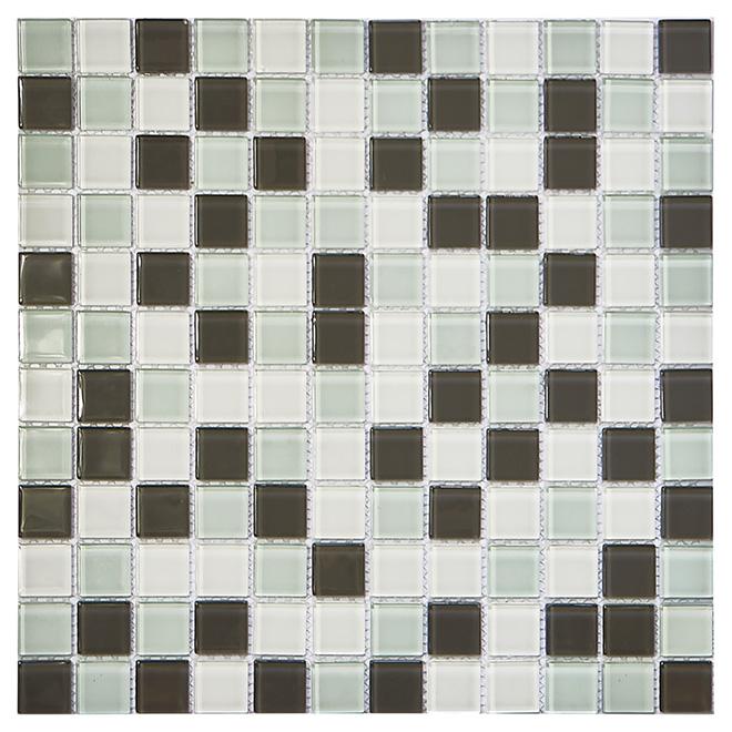glass mosaic tile 12 x 12 white grey