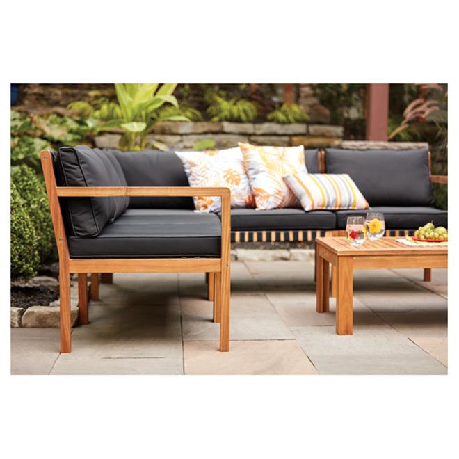 acacia wood patio set sao paulo natural black 5 places
