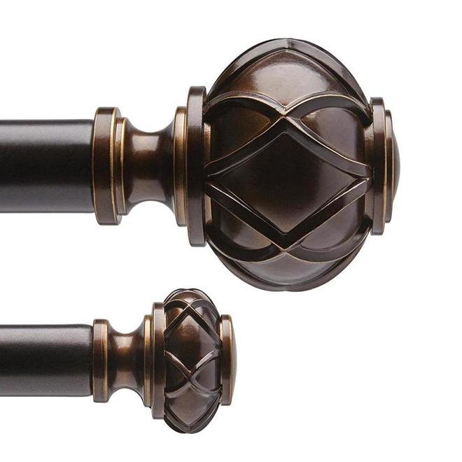steel double curtain rod 72 144 bronze